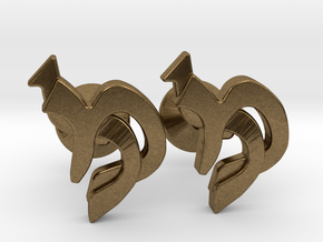 "Hebrew Monogram Cufflinks - ""Mem Lamed"" in Natural Bronze"