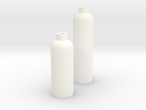 2 Modern Bottle Vases Large and Short in White Processed Versatile Plastic