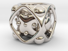 Dice No.2 M (balanced) (2.4cm/0.95in) in Rhodium Plated Brass