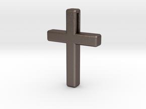 Cross Cube 35-25-5 in Polished Bronzed Silver Steel