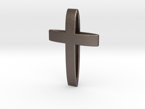 CrossOvalBand35-25-5-1 in Polished Bronzed Silver Steel