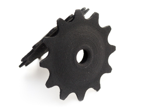 Pulley 12t for RD, hollow, flange (lower pulley) in Black Natural Versatile Plastic