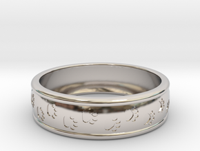 Size 9 Pet Paw Ring Engraved B  in Rhodium Plated Brass