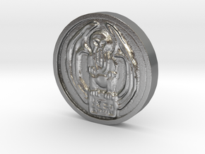 Cthulhu Coin in Natural Silver