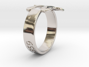 PI Ring Size8 in Rhodium Plated Brass