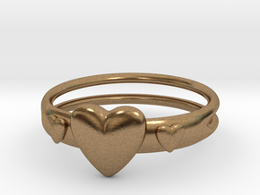 Ring with hearts, open back in Natural Brass