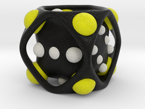 Dice No.2-c Yellow L (balanced) (5cm/1.97in) in Full Color Sandstone
