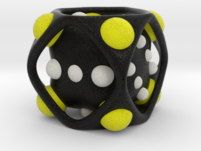 Dice No.2-c Yellow M (balanced) (3.6cm/1.42in) in Full Color Sandstone