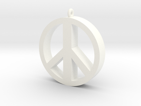 Peace Pendant in White Processed Versatile Plastic