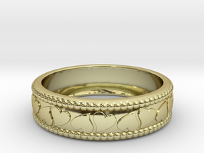 Size 10 Hearts Ring  in 18k Gold Plated Brass