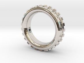 Mechawheel Ring - Size 7 in Rhodium Plated Brass