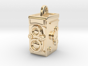 Rolleiflex Camera Pendant in 14k Gold Plated Brass