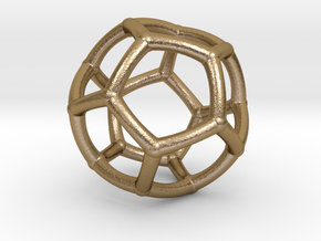 0073 Stereographic Polyhedra - Dodecahedron in Polished Gold Steel