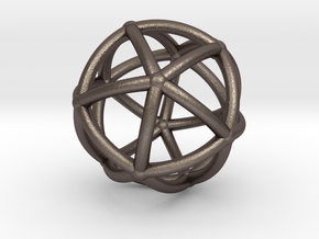 0074 Stereographic Polyhedra - Icosahedron in Polished Bronzed Silver Steel