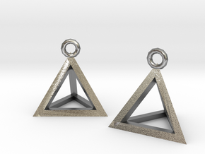 Tetrahedron earrings #Gold in Natural Silver