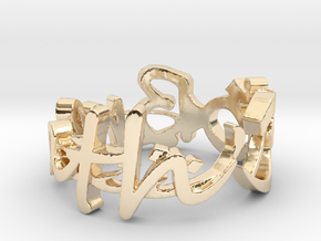 Aum Ring Size 11.25 in 14k Gold Plated Brass