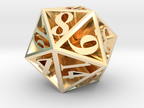 20 Sided Die in 14k Gold Plated Brass