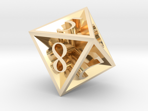 8 Sided Die in 14k Gold Plated Brass