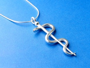 Rod Of Asclepius Pendant in Polished Silver