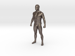 Man body in 8cm Passed in Polished Bronzed Silver Steel
