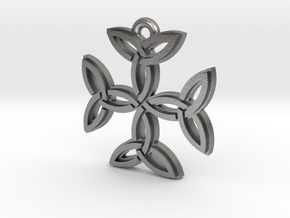 """Carolingian Cross"" Pendant, Cast Metal in Natural Silver"