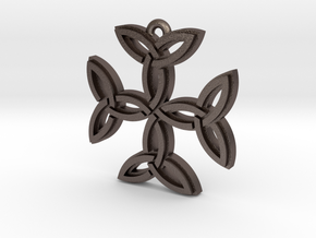 """Carolingian Cross"" Pendant, Printed Metal in Polished Bronzed Silver Steel"