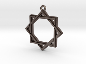 """Octagram 2.0"" Pendant, Printed Metal in Polished Bronzed Silver Steel"