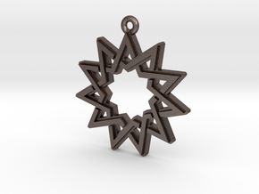 """Hendecagram 4.1"" Pendant, Printed Metal in Polished Bronzed Silver Steel"
