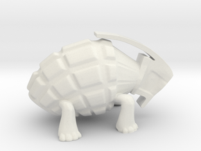 Turtle Grenade Toy Design in White Natural Versatile Plastic