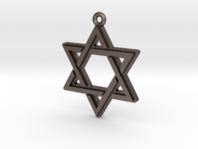"""Hexagram 2.0"" Pendant, Printed Metal in Polished Bronzed Silver Steel"