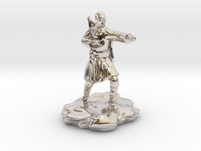 Elf Monk With Bow On Back in Rhodium Plated Brass