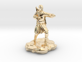 Elf Monk With Bow On Back in 14k Gold Plated Brass