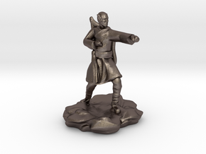Elf Monk With Bow On Back in Polished Bronzed Silver Steel