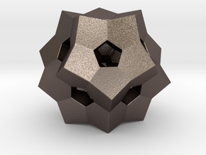 "0077 ""Dodecaplex"" Polytope 120-Cell #002 (5 cm) in Polished Bronzed Silver Steel"
