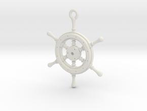 Ship Wheel Pendant in White Natural Versatile Plastic