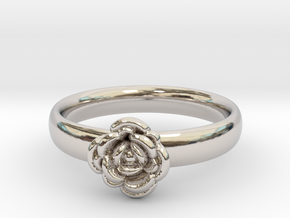 Ring with a rose in Rhodium Plated Brass