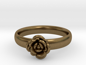 Ring with a rose in Natural Bronze
