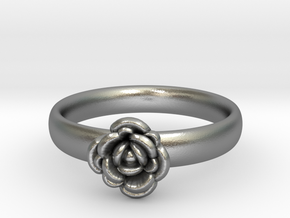 Ring with a rose in Natural Silver