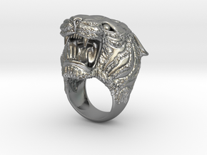 Tiger ring in Natural Silver