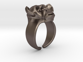 Chimpanzee Ring in Polished Bronzed Silver Steel