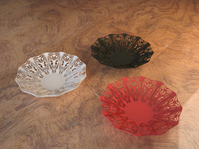 Perforated Bowl with artistic pattern in White Natural Versatile Plastic