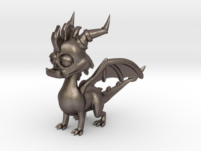 Spyro the Dragon - 5cm Tall in Polished Bronzed Silver Steel