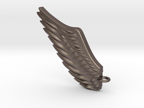 Wing pendant in Polished Bronzed Silver Steel