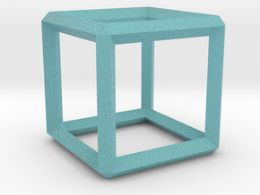 Cube wireframe in Full Color Sandstone