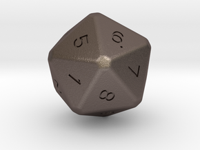 D20 dice in Polished Bronzed Silver Steel