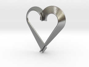 Heart Shaped Pendant in Natural Silver