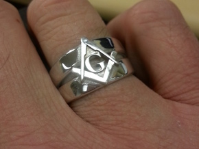 Masonic Ring, Mens size 11.5 in Rhodium Plated Brass