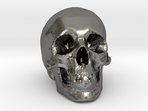 Skull Desk Ornament (1:20 scale) in Polished Nickel Steel: 1:20