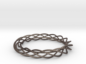 Twist Bangle A01M in Polished Bronzed Silver Steel