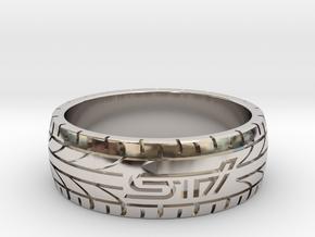 Subaru STI ring - 21 mm (US size 11 1/2) in Platinum